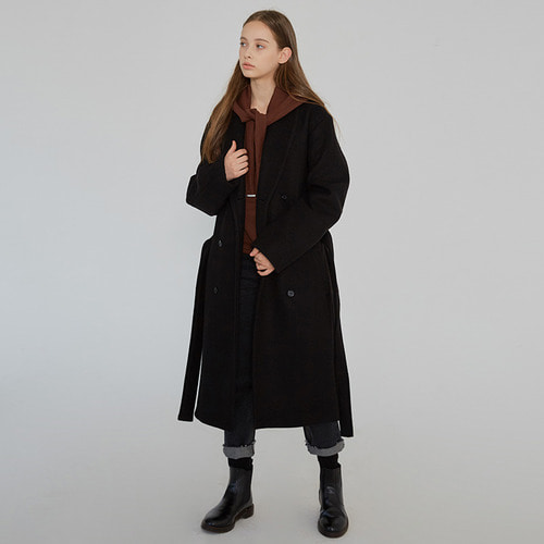 MG7F SHAWL COLLAR COAT (BLACK)