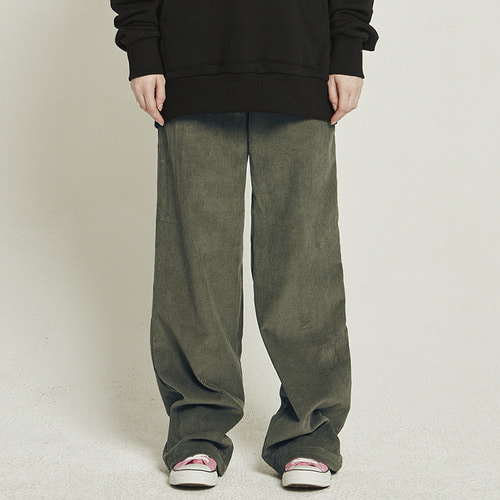 MG8F CORDUROY HIGH WAIST PANTS (KHAKI)