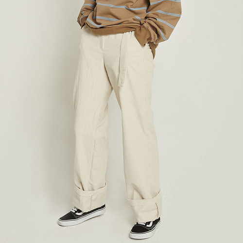 MG8F CORDUROY HIGH WAIST PANTS (IVORY)