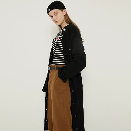 MG8F STRAP LONG CARDIGAN (BLACK)