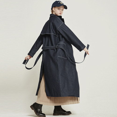 MG8F DENIM TRENCH COAT (NAVY)