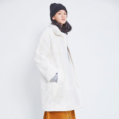 MG8F BASIC FUR COAT (IVORY)