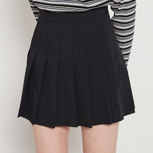MG9S PLEATS BASIC SKIRT (BLACK)