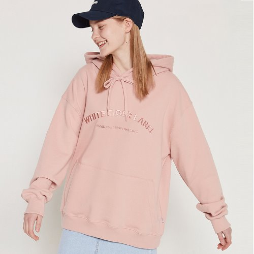 MG9S WHITE TIGER LABEL HOOD (LIGHT PINK)