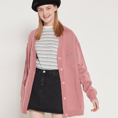 MG9S OVERFIT KNIT CARDIGAN (PINK)