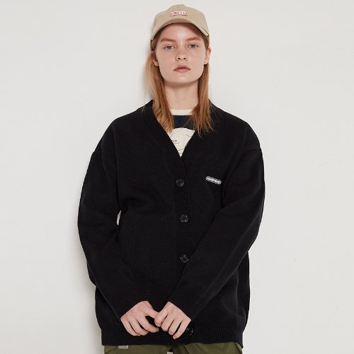 MG9S OVERFIT KNIT CARDIGAN (BLACK)