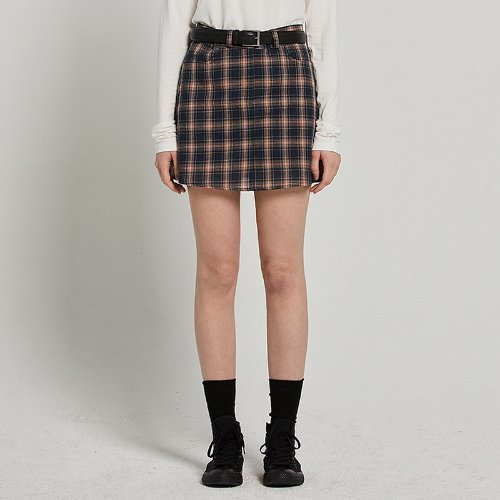 MG9S CHECK MINI SKIRT (NAVY)