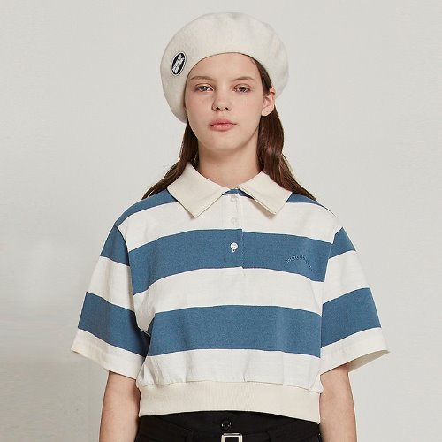 [2/14예약]MG9S STRIPE COLLAR CROP TEE (BLUE)