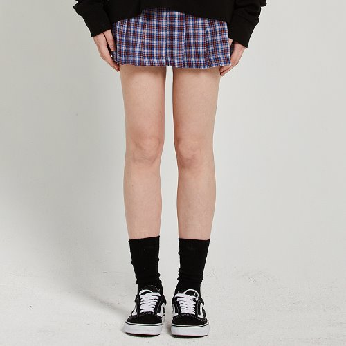 [2/15예약]MG9S PLEATS CHECK SKIRT (BLUE)