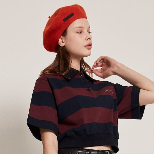 [2/14예약]MG9S STRIPE COLLAR CROP TEE (WINE)