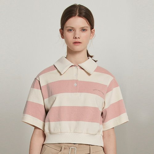 [2/14예약]MG9S STRIPE COLLAR CROP TEE  (PINK)