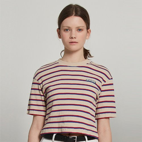 [2/18 예약] MG9S STRIPE LABEL CROP TEE (BEIGE)