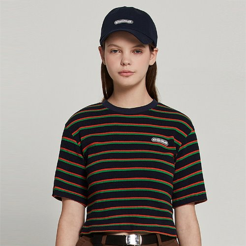 [2/18 예약] MG9S STRIPE LABEL CROP TEE (NAVY)
