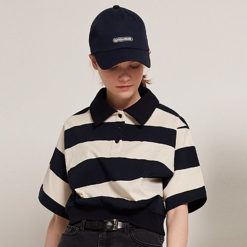 [2/14예약]MG9S STRIPE COLLAR CROP TEE (NAVY)