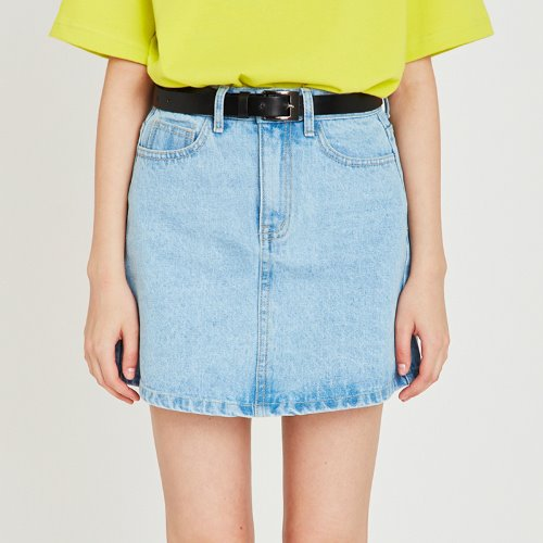 MG9S DENIM BASIC MINI SKIRT (LIGHT BLUE)