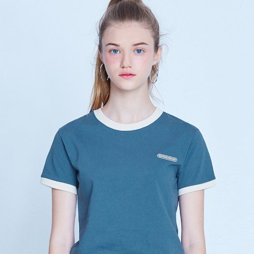 MG9S RINGER CROP TEE (DARK BLUE)