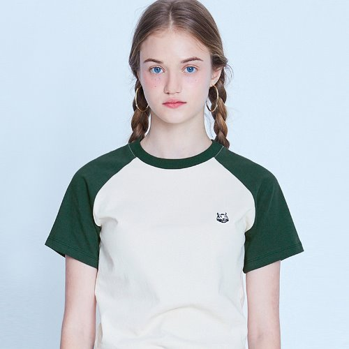 MG9S RAGLAN LOGO CROP TEE (GREEN)