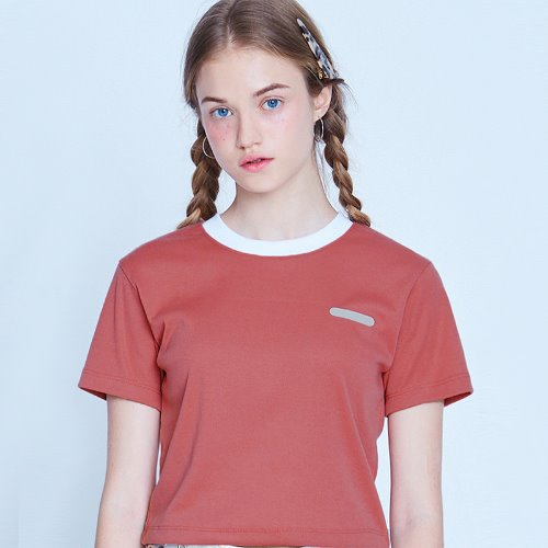 MG9S NECK POINT CROP TEE (PINK)