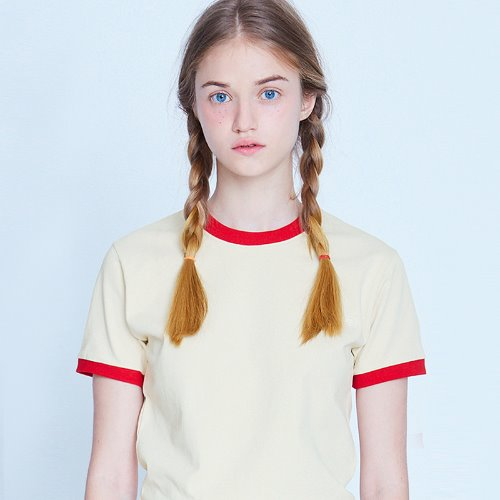 MG9S RINGER CROP TEE (IVORY)