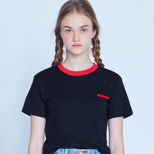 MG9S NECK POINT CROP TEE (BLACK)