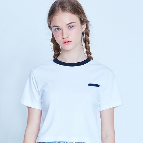 MG9S NECK POINT CROP TEE (WHITE)