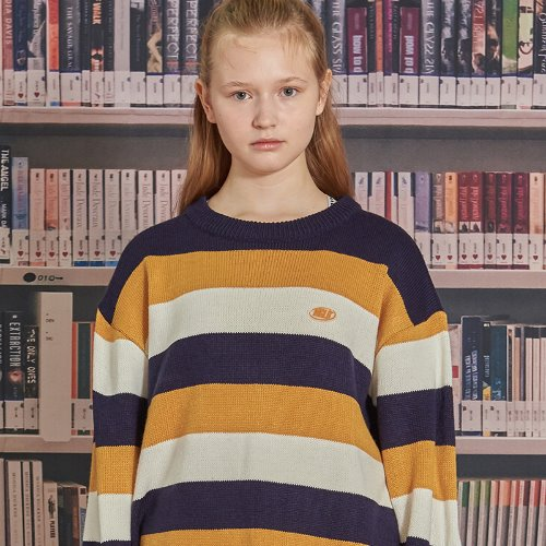 MG9F STRIPE KNIT (MUSTARD)