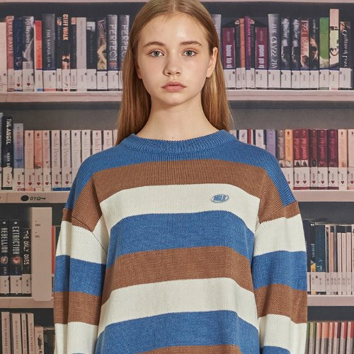 MG9F STRIPE KNIT (DARK BLUE)