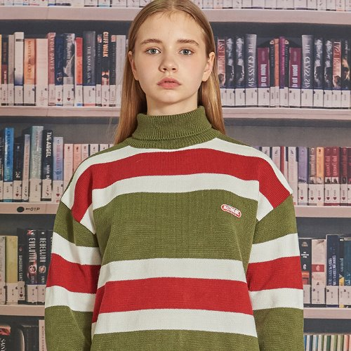 MG9F STRIPE PULLOVER KNIT (OLIVE GREEN)