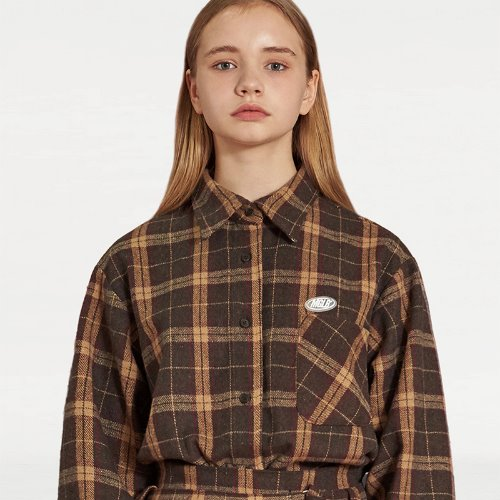 MG9F OVERSIZE CHECK SHIRT (BROWN)