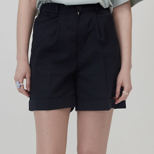 MG0S HIGH WAISTED COTTON SHORTS (NAVY)