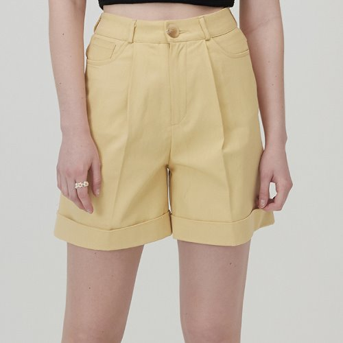 MG0S HIGH WAISTED COTTON SHORTS (YELLOW)