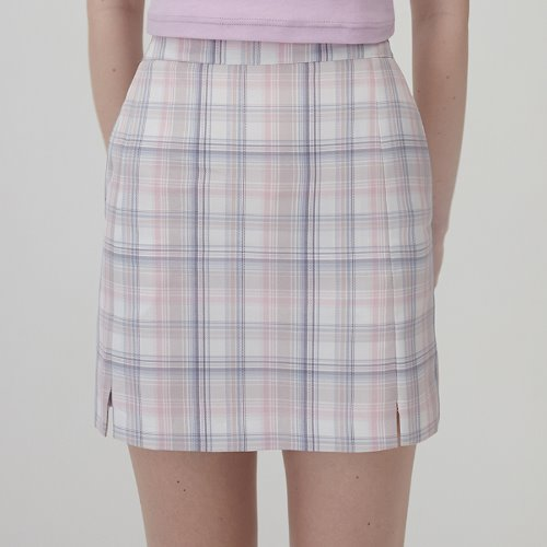 MG0S SLIT CHECK MINI SKIRT (PINK)