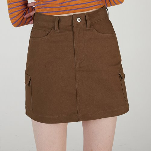MG0S OUTPOCKET MINI SKIRT (BROWN)