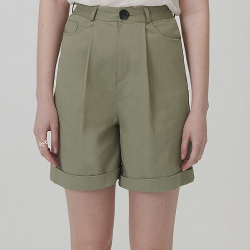 MG0S HIGH WAISTED COTTON SHORTS (KHAKI)