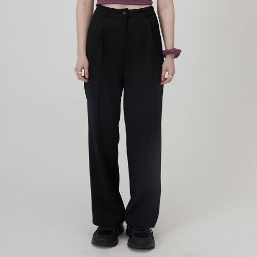 MG0S PINTUCK LONG SLACKS (BLACK)