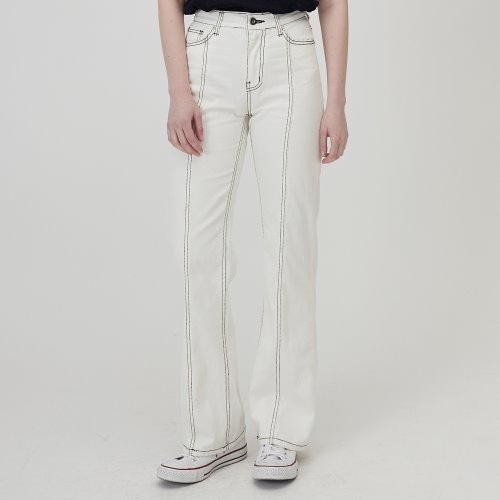 MG0S FRONT BACK SUTTING DENIM PANTS (WHITE)