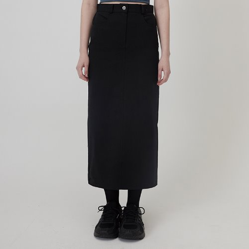 MG0S COTTON TWILL LONG SKIRT (BLACK)