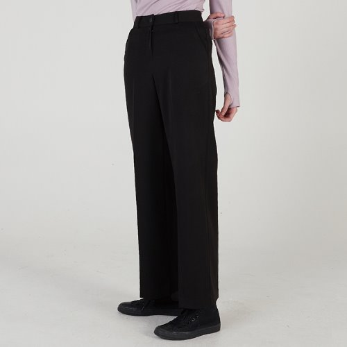 MG0S WIDE LONG SLACKS (BLACK)