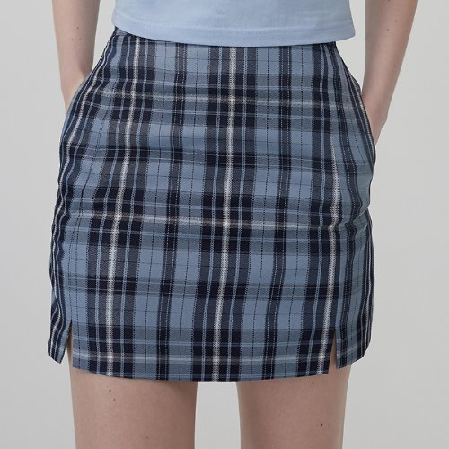 MG0S SLIT CHECK MINI SKIRT (NAVY)