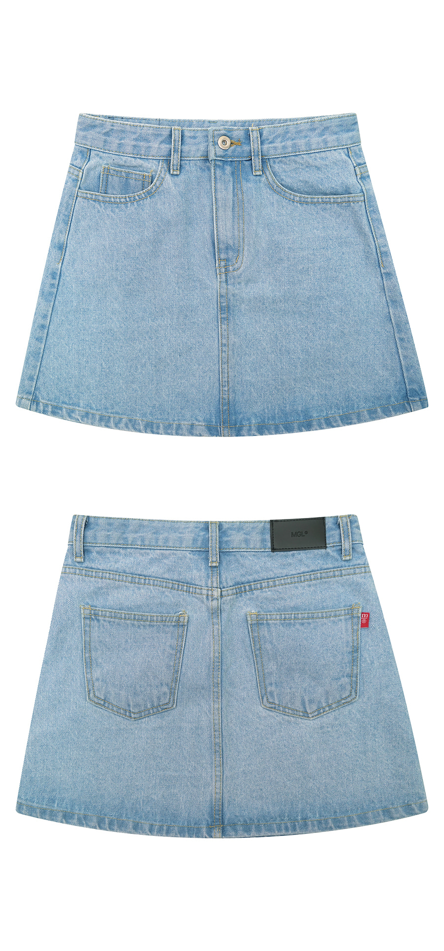 매치글로브(MATCHGLOBE) MG9S DENIM BASIC MINI SKIRT (LIGHT BLUE)