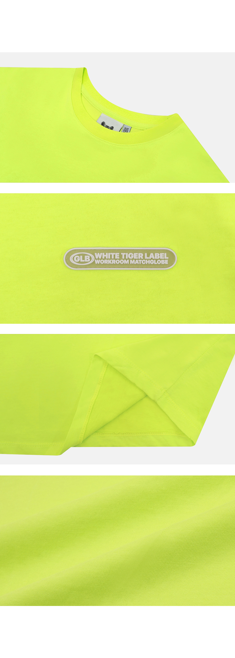 매치글로브(MATCHGLOBE) MG9S COLOR POINT CROP TEE (YELLOW GREEN)
