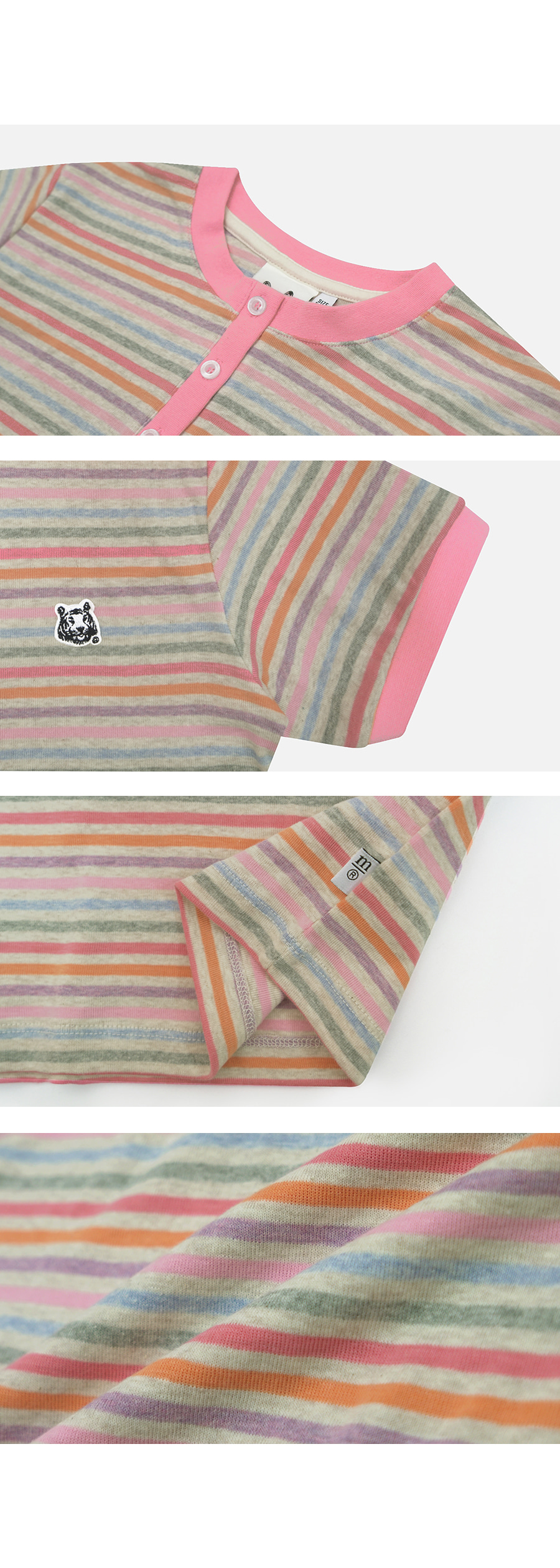 매치글로브(MATCHGLOBE) MG9S STRIPE BUTTON CROP TEE (OATMEAL)