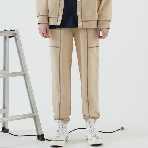 COLOR BLOCK LINE JOGGER PANTS (BEIGE)