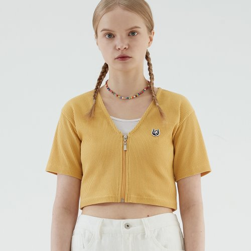 V-NECK ZIPUP CROP T (YELLOW)