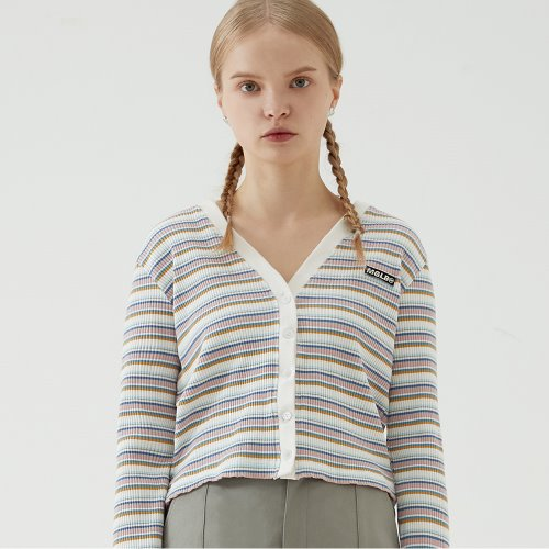STRIPE SLIM FIT CROP CARDIGAN (WHITE)