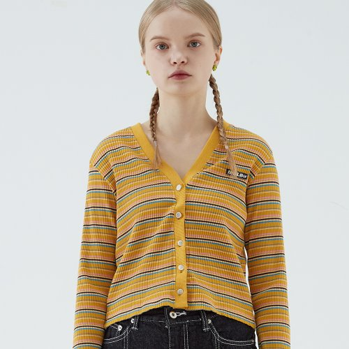 STRIPE SLIM FIT CROP CARDIGAN (MUSTARD)