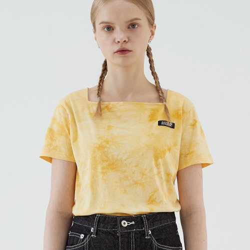 SQUARE NECK TIE DYE T (YELLOW)