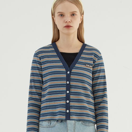 STRIPE SLIM FIT CROP CARDIGAN (BLUE)