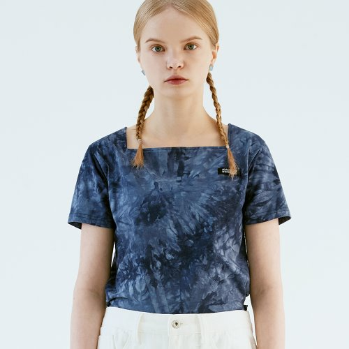 SQUARE NECK TIE DYE T (NAVY)